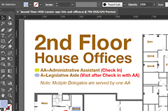Final creation of a floor map after compiling CAD drawings and other vector plans together to create the requested visual that included member offices and meeting rooms