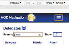 searchability is important in the app as there are 100 delegates, some with the same last names
