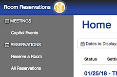 The Rooms Reservation application showing current meetings at default, with administrative options displayed at the right for admins that have rights to make such changes