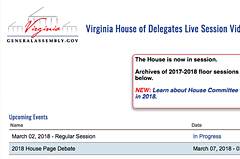 The landing page for House of Delegates Live Streaming Video that presents the most recent updates on events and searchable archives below