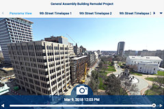 Multi-platform viewing venue for streaming and timelapse photography of the demolition of the reconstrution of the historic renovation of the General Assembly Building - done in 4K, high quality streaming, interactive panos and video timelapses are available showing preservation of the 1912 facade.