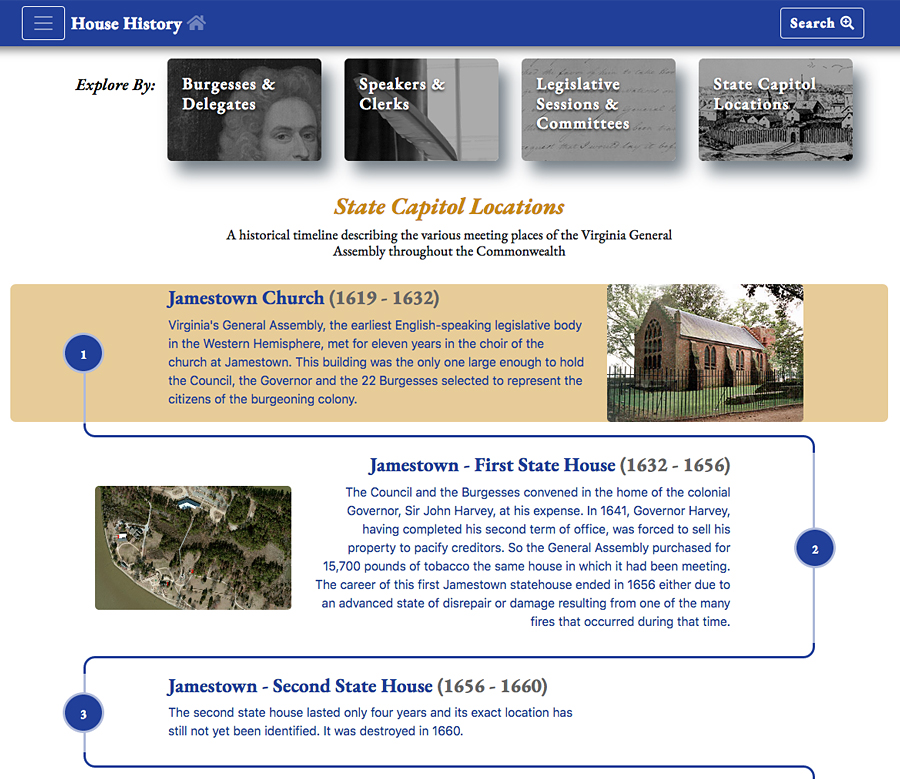 A historical timeline was created with unique milestones' appearances through CSS and javaScript that resembles an illustration or chart